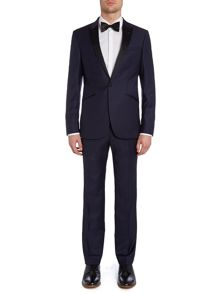 Grid Jacquard slim fit suit