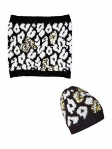 Biba Leopard sequin knitted accessories