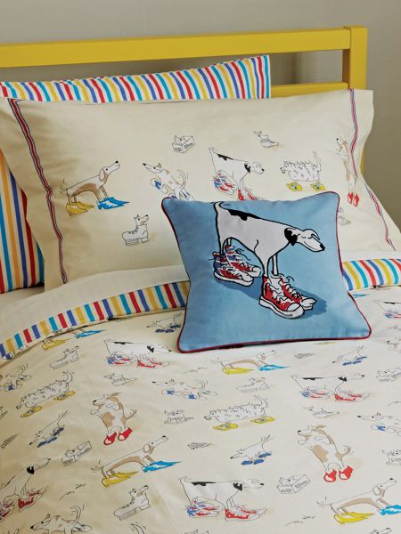 Sanderson Little Sanderson Dogs in Clogs bed linen