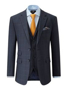 Skopes Alexander Navy Check Tailored Fit Suit.