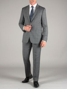 Grey teal check suit