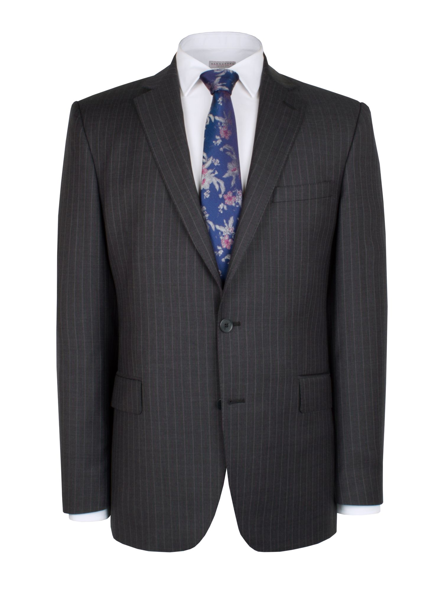 Grey purple pinstripe suit