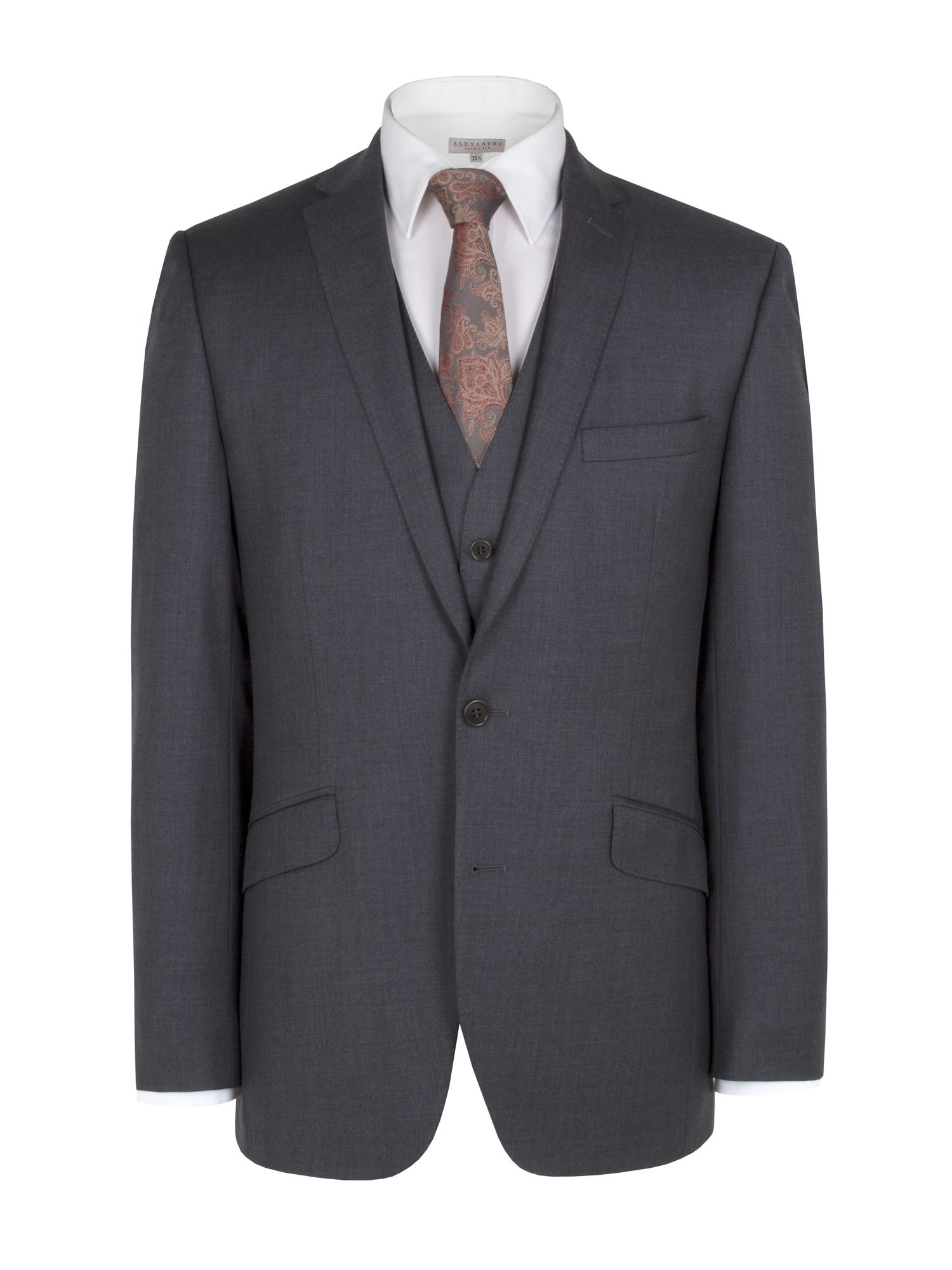 Charcoal cashmere suit and waistcoat