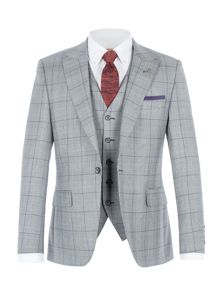 Gibson Grey Suit with purple over check