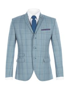 Gibson Blue check suit with over check