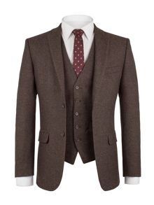 Aston & Gunn Mitton Brown Donegal Waistcoat