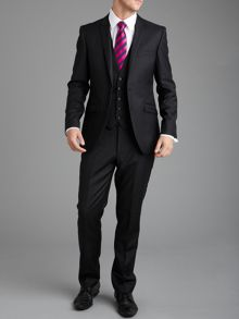 Paul Costelloe Plain Black Slim Fit Suit Trousers