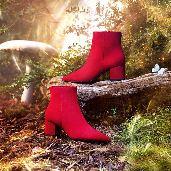 Dune red ankle boots