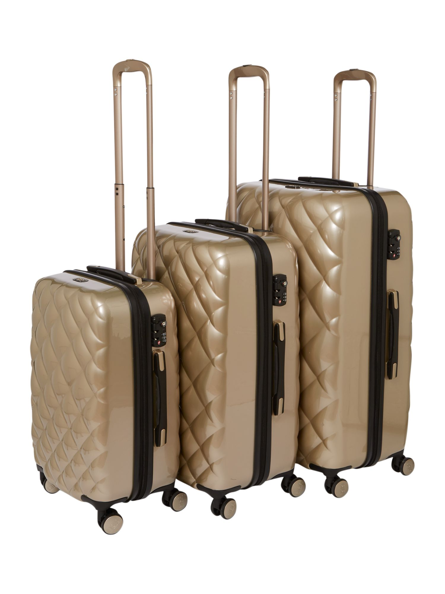 Biba Luxe Diamond Quilt Oyster Grey Luggage - House of Fraser : it quilted luggage - Adamdwight.com