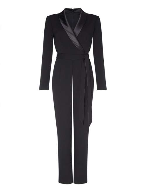 Adrianna Papell Knit Crepe Charmeuse Wrap Jumpsuit House Of Fraser