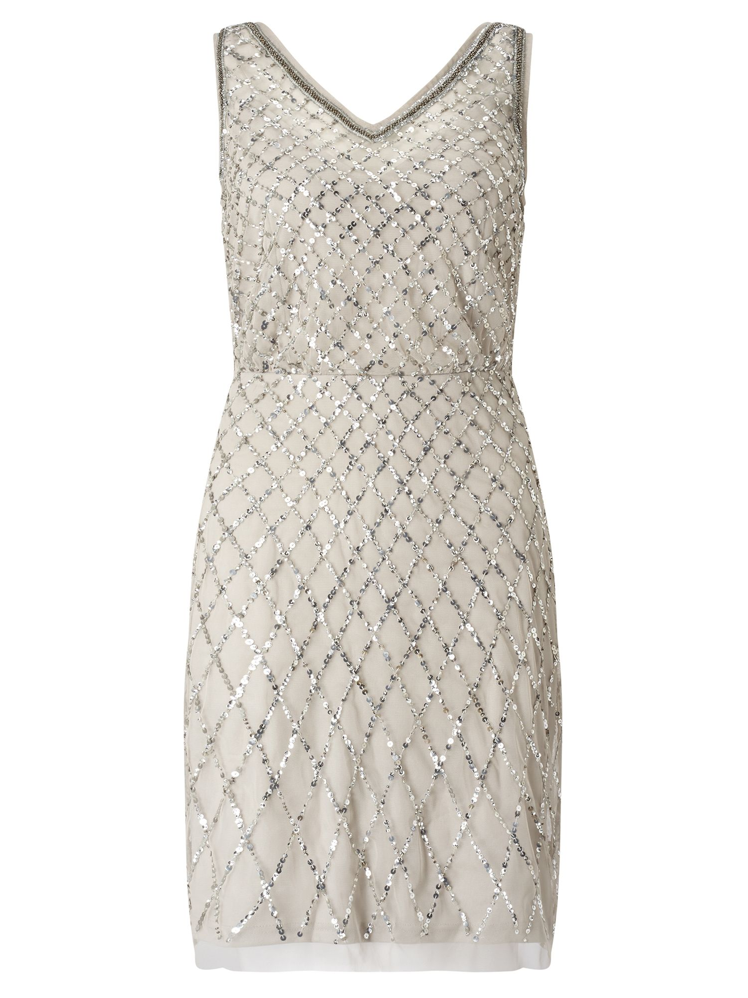 Adrianna Papell Beaded Cocktail Dress Silver