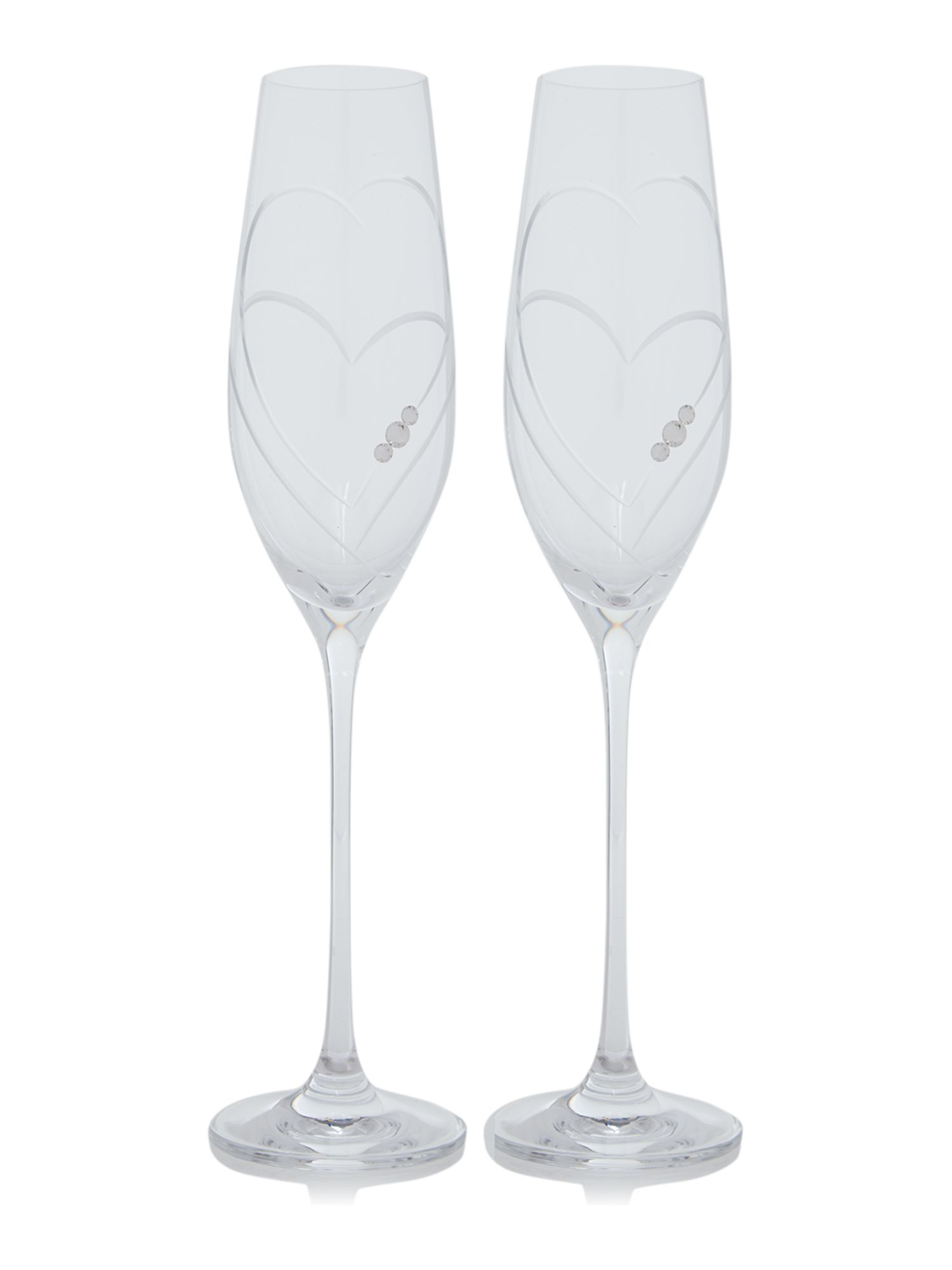 Linea Twin Heart Swarovski Crystal Champagne Flutes S2 House Of Fraser