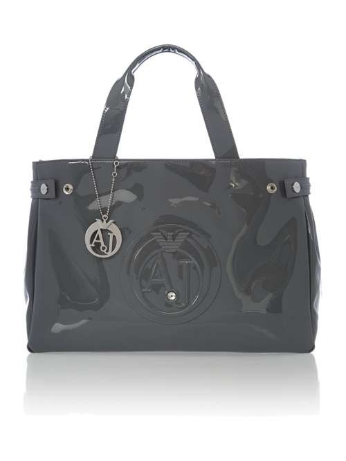 Armani Jeans Patent Grey Tote Bag - House of Fraser d7eebabbd7