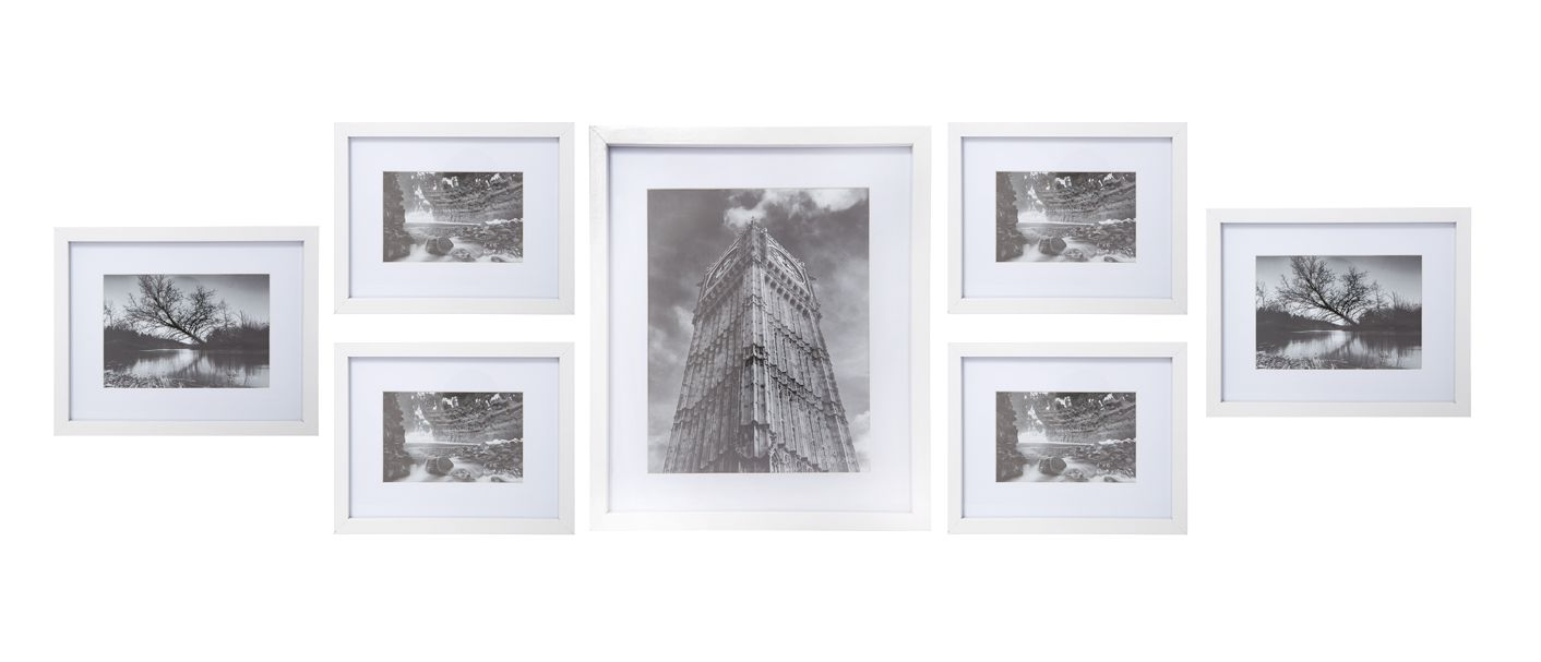 linea white wood 7 piece gallery frame set house of fraser