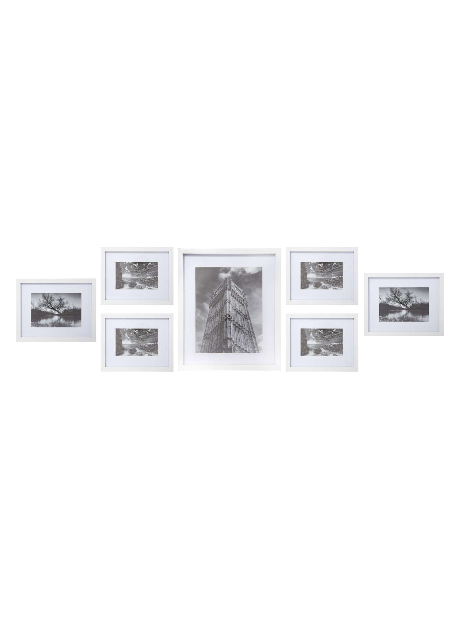 Linea White Wood 7 Piece Gallery Frame Set - House of Fraser