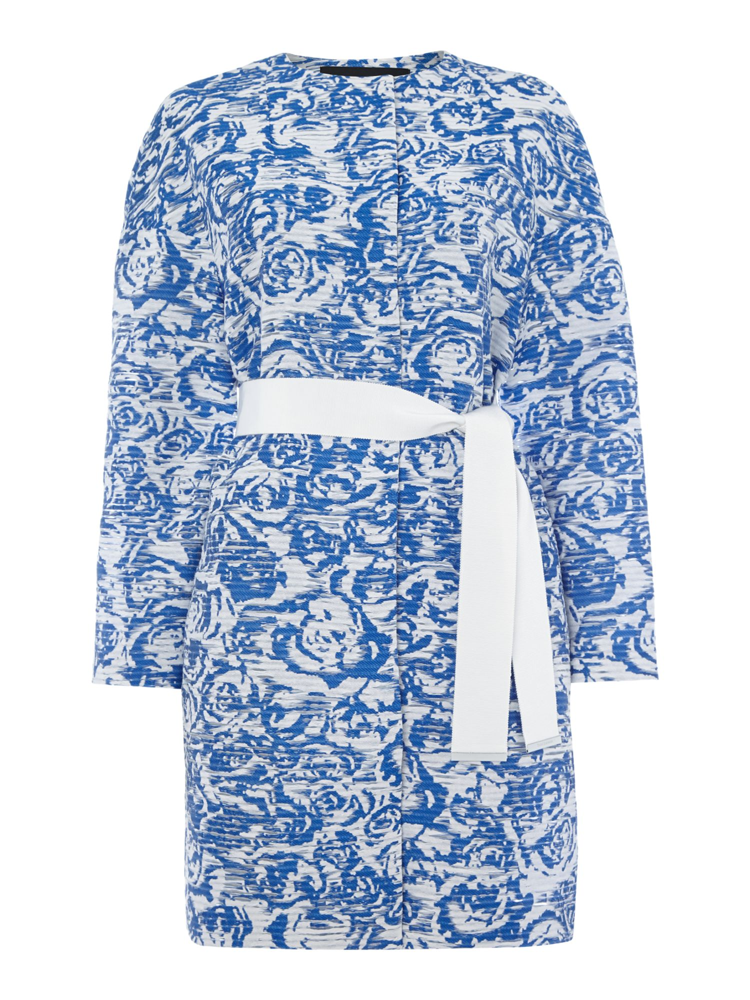 Tara Jarmon Rose print collarless, Blue