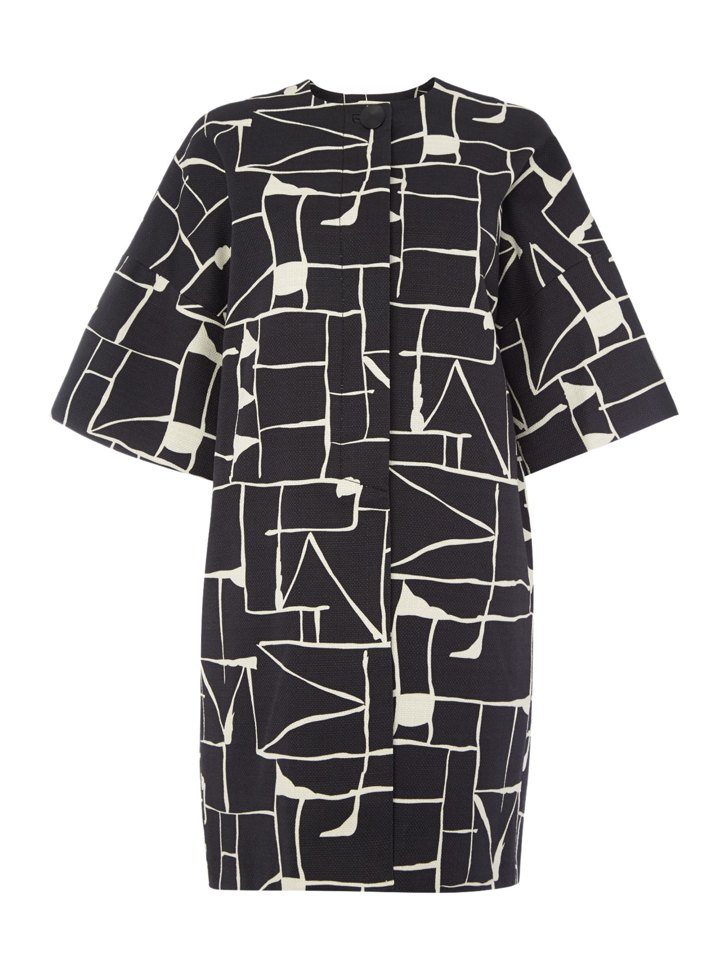 Tara Jarmon Graphic print collarless coat, Black