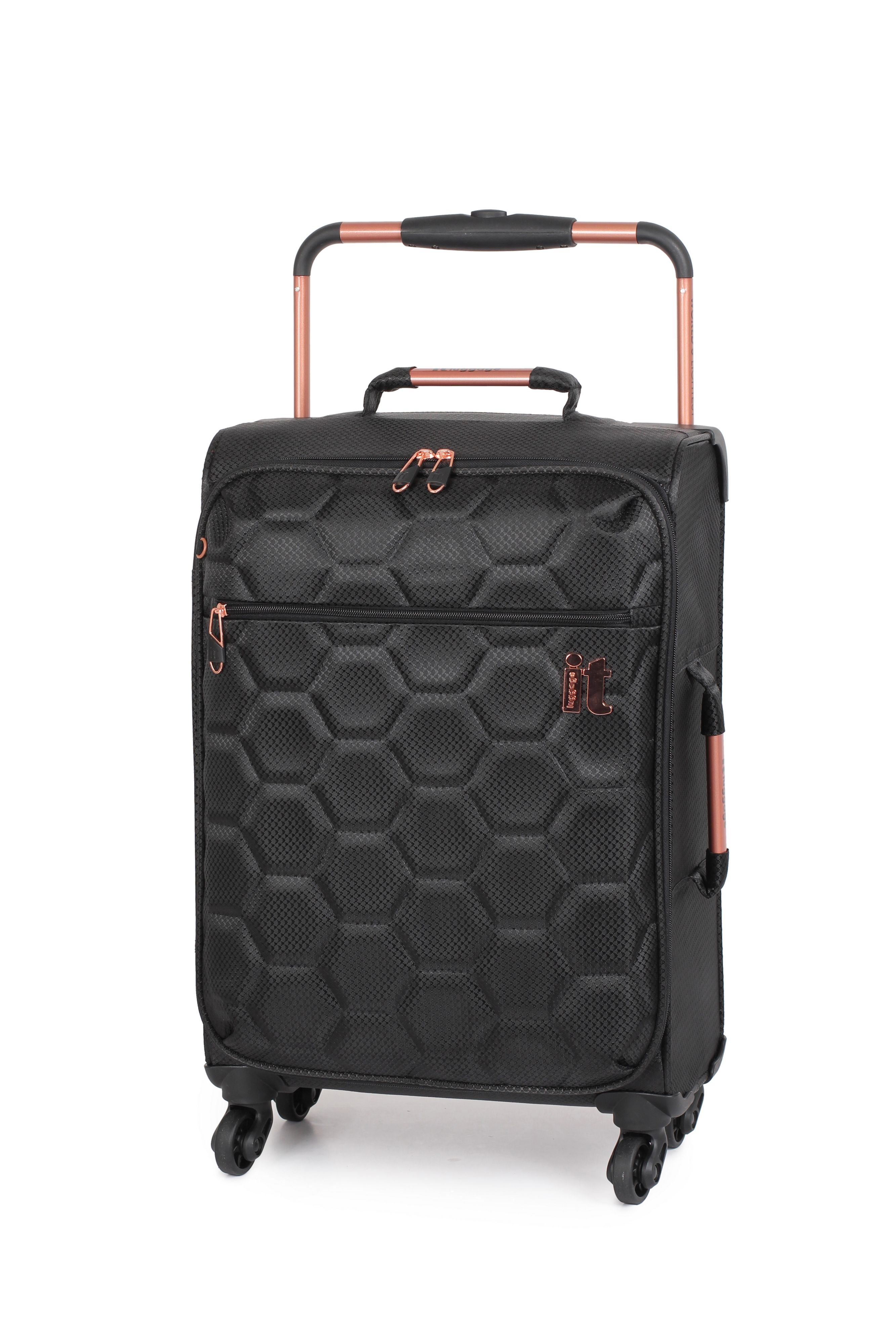 Suitcase With Drawers Linea Black Hexagon Emboss 4 Wheel Soft Small Suitcase House Of