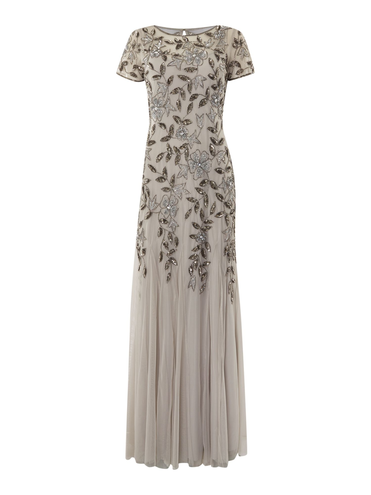 1920s Style Dresses, Flapper Dresses Adrianna Papell Evening long cap sleeve beaded gown £210.00 AT vintagedancer.com