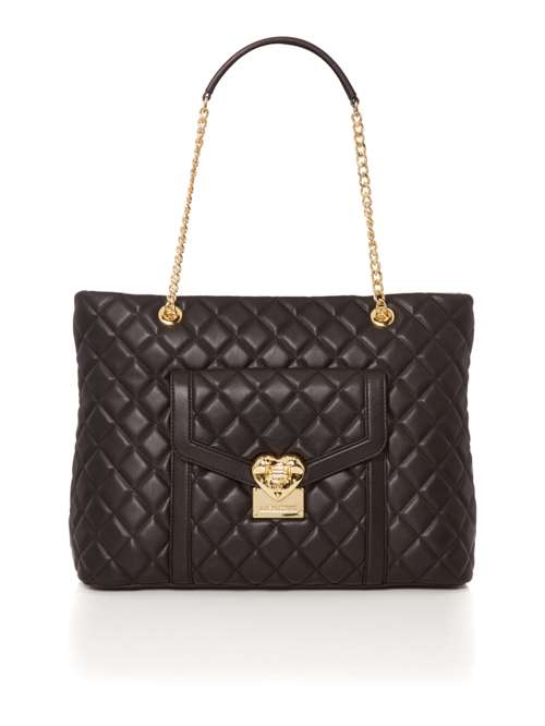 Love Moschino Superquilt Black Chain Shoulder Tote Bag - House of ... 419822575c