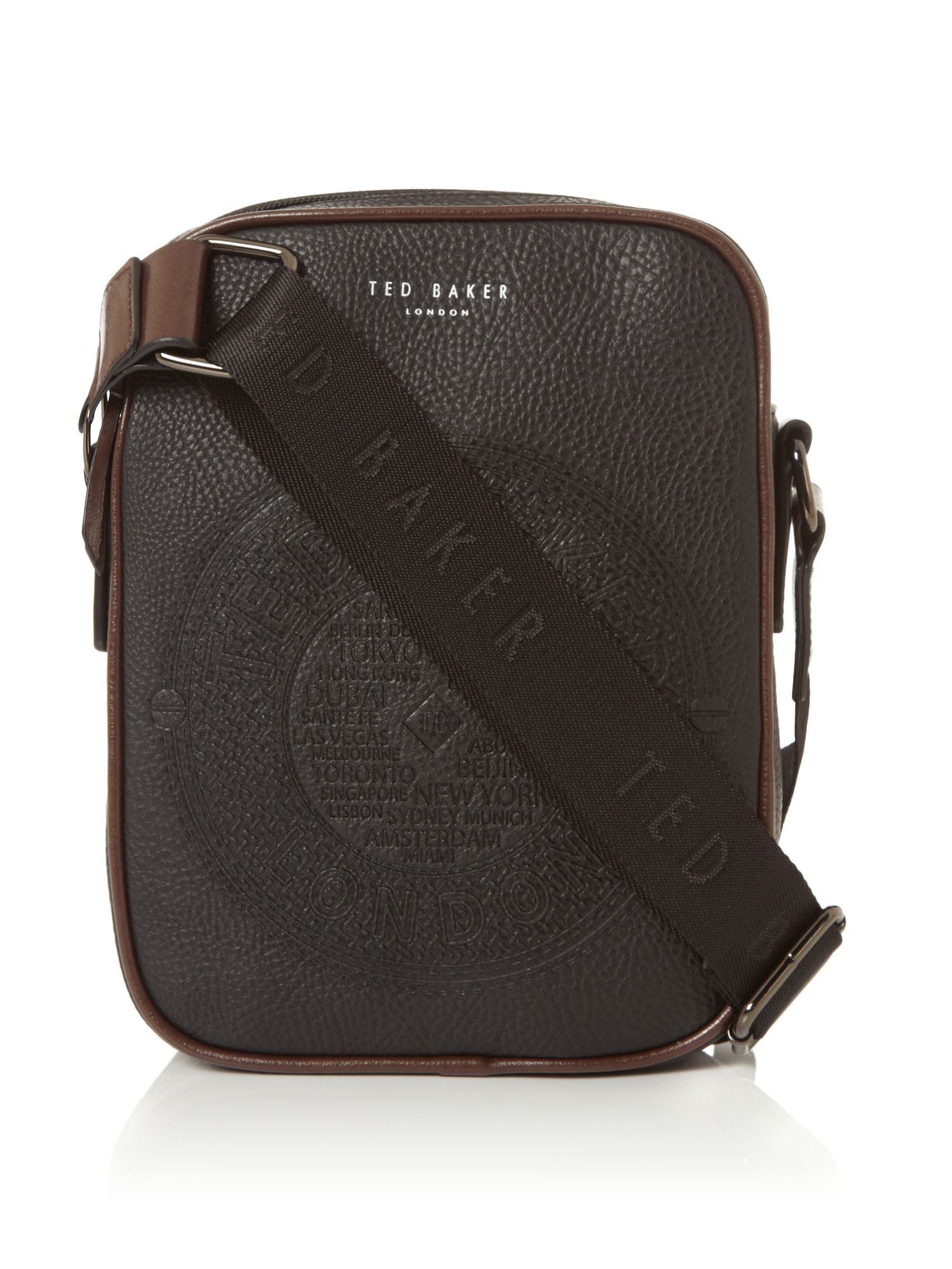 Ted Baker Embossed PU Mini Flight Bag Black