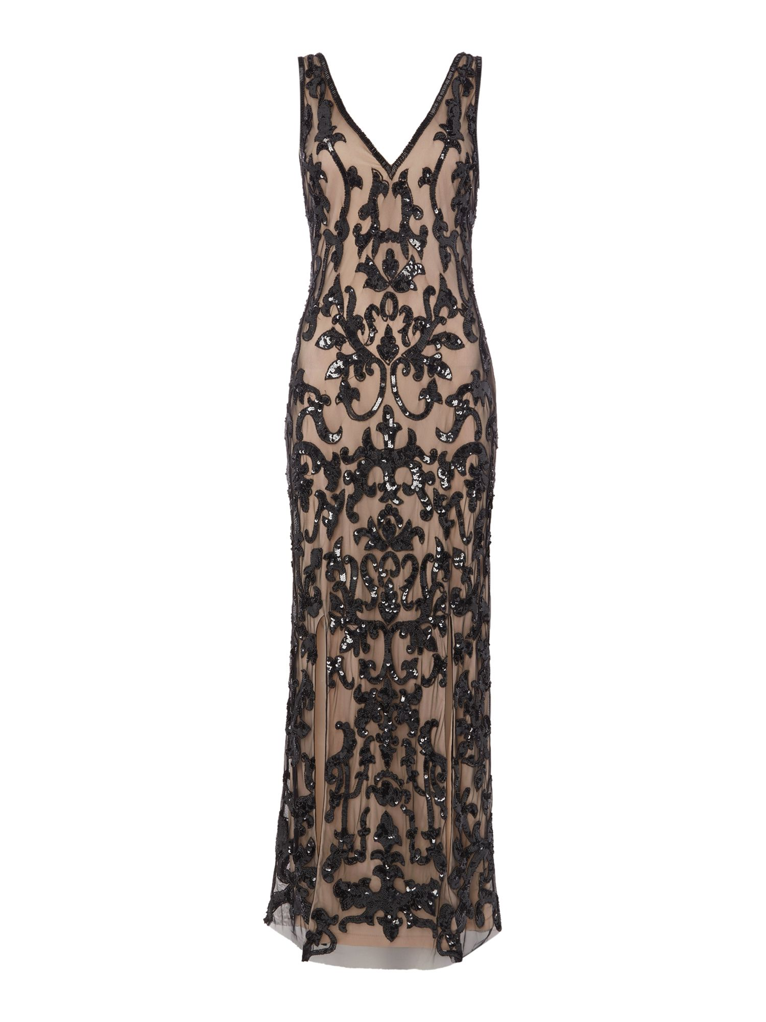 1920s Cocktail Party Dresses, Evening Gowns Frock and Frill Sleeveless gown with split Black £90.00 AT vintagedancer.com