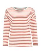 Long Sleeve Stripe Tee Top In Faded Red