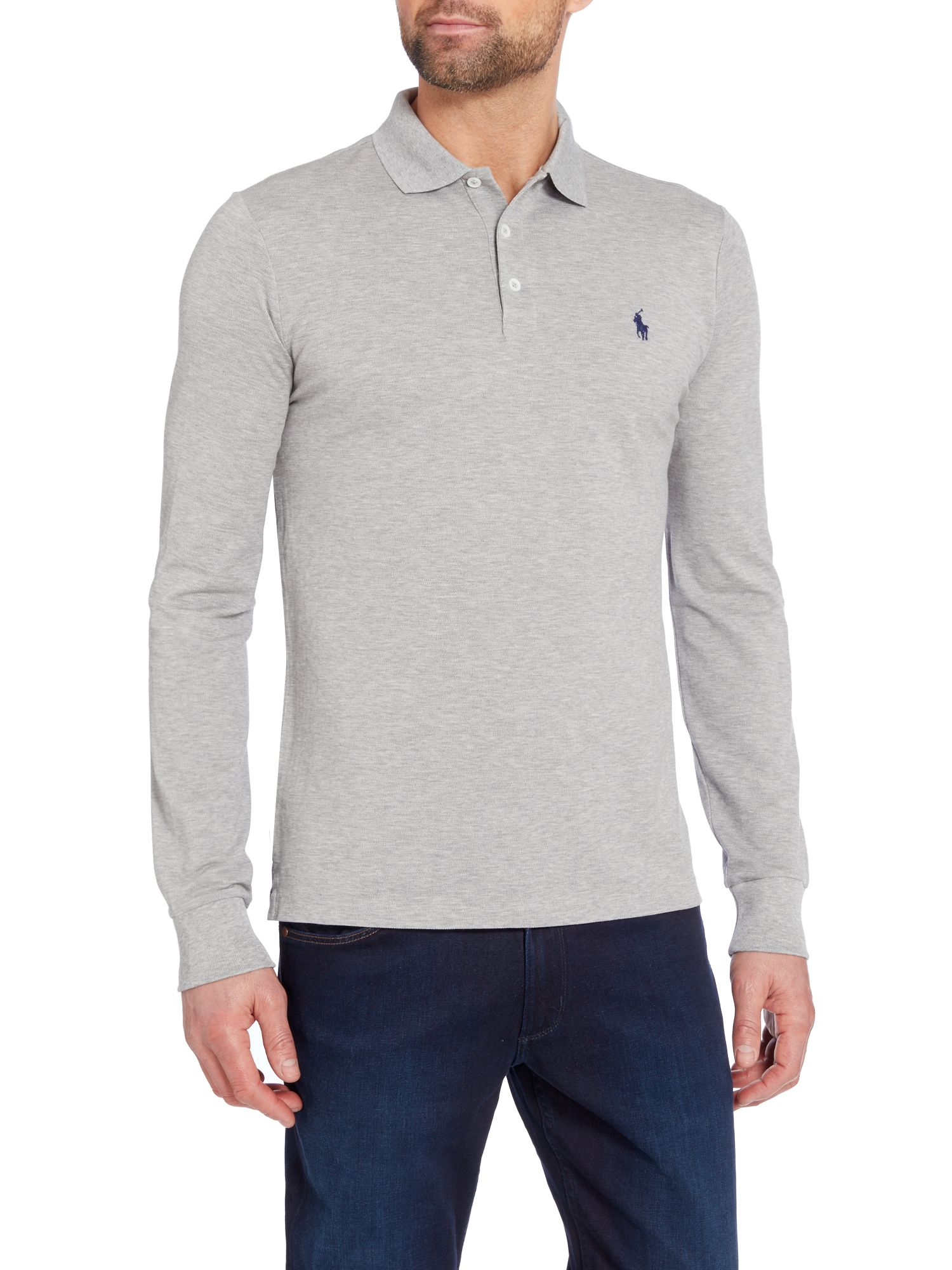 ... Polo Ralph Lauren Long sleeve slim fit stretch mesh polo