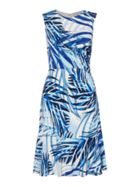 Palm Print Frill Hem Dress