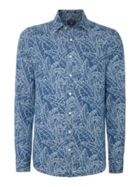 Fitted Leaf-print Long-sleeve Shirt