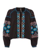 Embroidered Swing Jacket In Black