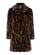 Abstract Faux Fur Portobello Coat