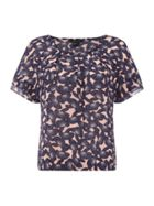 Armani Exchange Short Sleeve Printed Blouse in Pink