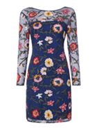 Frock and Frill Long sleeved embroidered shift dress
