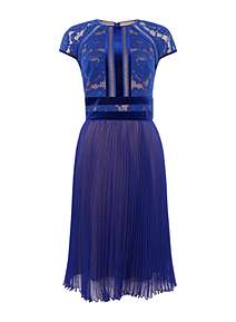 Jane Norman for House Of Fraser Lace Striped Midi blue//green dress Size 16