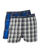 Men's GANT 2PK Check and plain woven boxer
