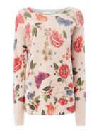 Oui Butterfly and flower print knit