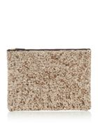 Large Sequin Leather Pouch