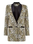 Biba Jacquard and velvet smoking jacket