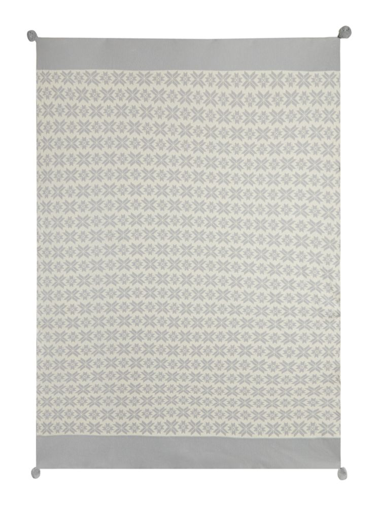 Linea Fairisle Knit Throw Grey - House of Fraser
