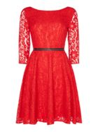 Guess Long Sleeve Lace Fit & Flare Dress