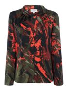 Lois Front Keyhole Jungle Print Blouse