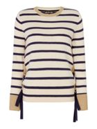 Biba Striped lace up eyelet jumper