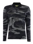 Long Sleeve Camo Print Polo Shirt