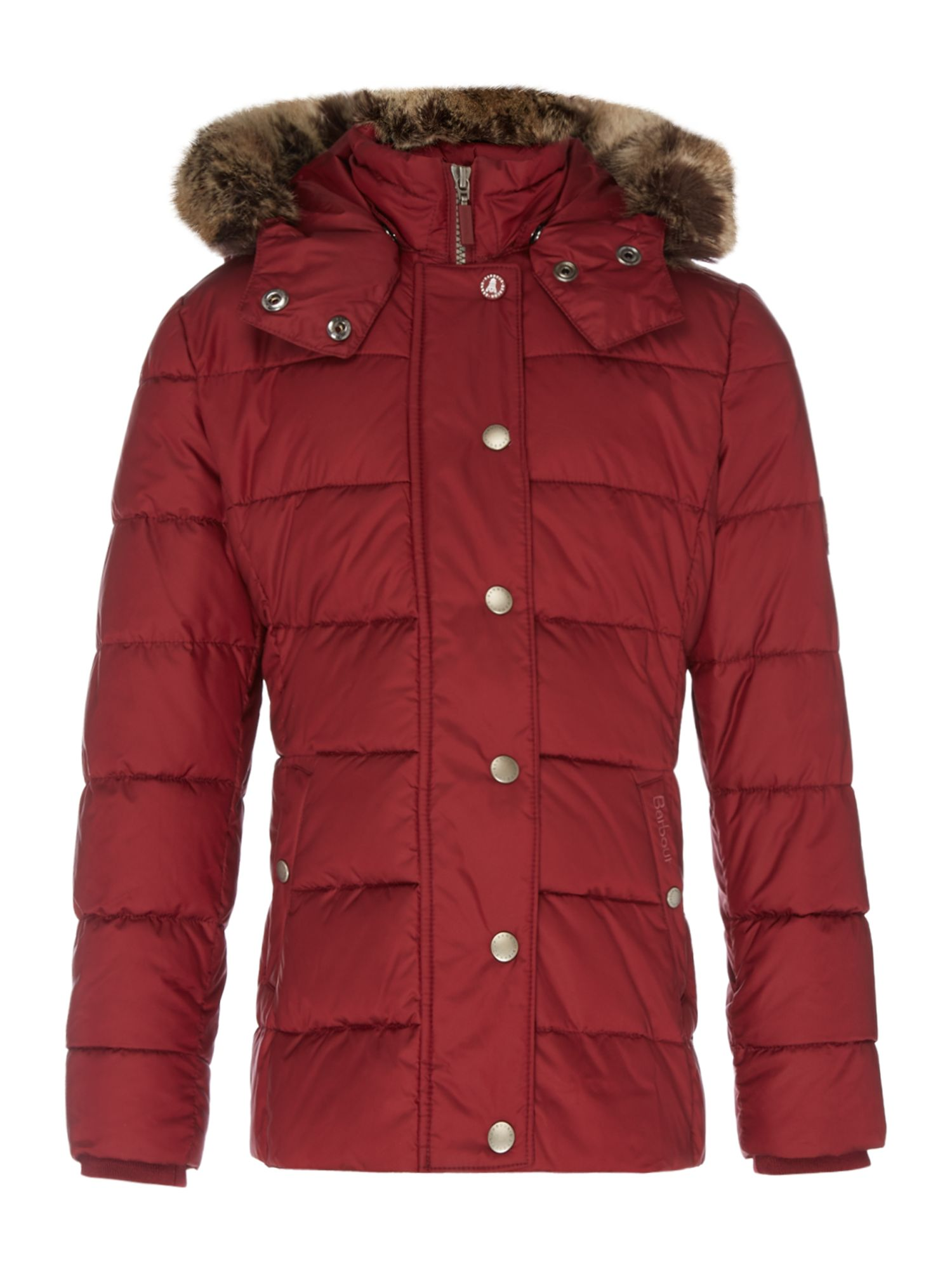 Barbour Girls Padded Shipper Coat With Fur Trim Hood