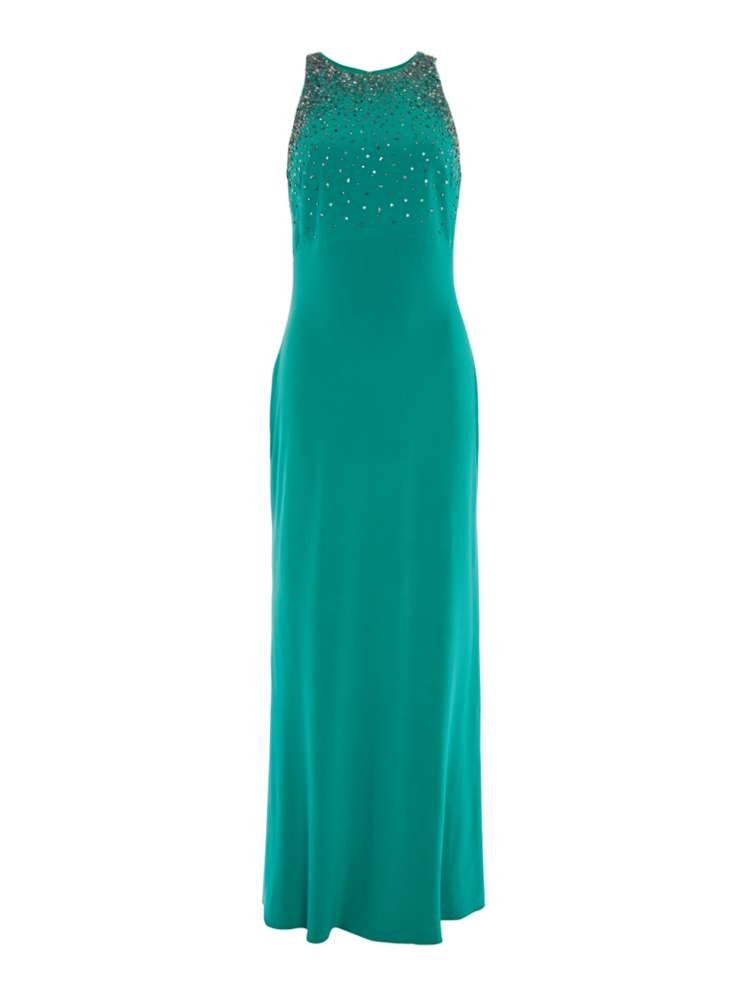 JS Collections High Neck Embellished Gown - House of Fraser