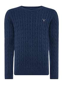 d0a8242dcda1 GANT Crew Neck Cable Knit Jumper ...
