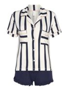 Chelsea Peers Striped notch collar short pyjama set