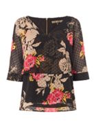 Biba Floral Printed Overlay Blouse