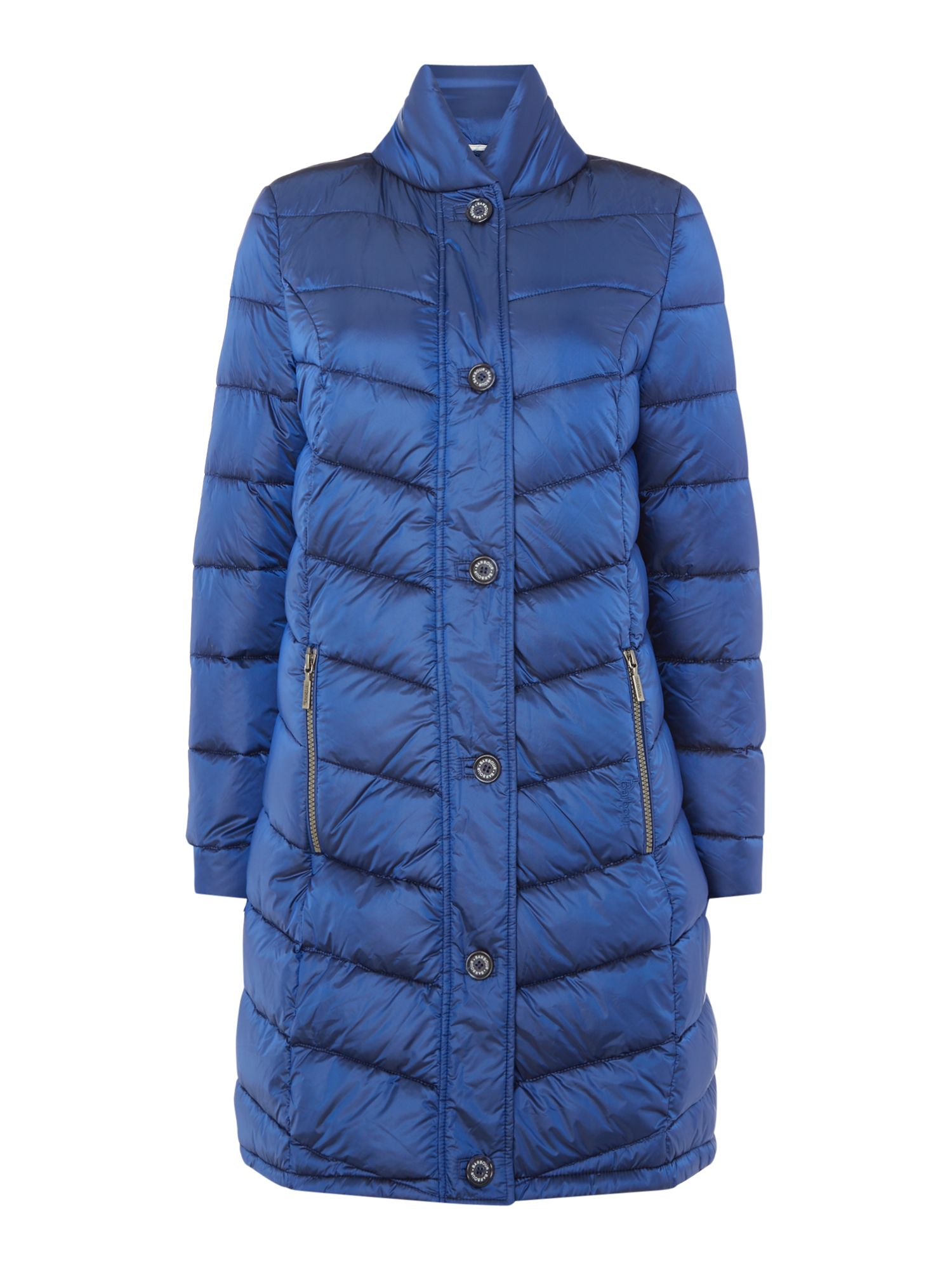 Barbour Staffin Long Puffer Coat With Zip Pockets, Blue